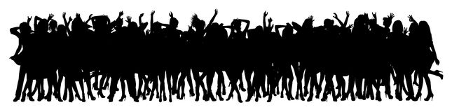Dancing crowd. Silhouette of dancing crowd -  illustration Stock Image