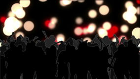 Dancing crowd with glowing circles of light moving on black stock video