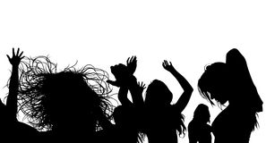 Dancing Crowd Silhouette. Black Illustration, Vector Royalty Free Stock Photos