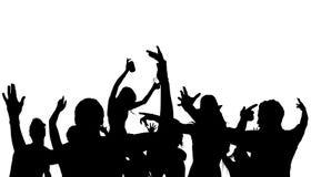Dancing Crowd Silhouette. Black Illustration, Vector Stock Photo
