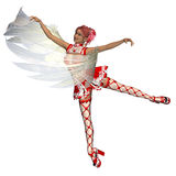 Dancing cupid girl. Digitally rendered illustration of a dancing cupid girl on white background Stock Photography
