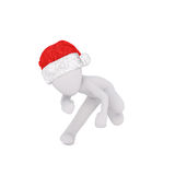 Dancing 3D figure in Christmas hat Stock Photography