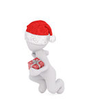 Dancing 3d man throwing or catching a gift. Dancing 3d man in a festive red Santa hat throwing or catching a Christmas gift at a party, isolated rendered Stock Image
