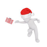 Dancing 3d man throwing or catching a gift. Dancing 3d man in a festive red Santa hat throwing or catching a Christmas gift at a party, isolated rendered Stock Photography