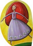 Dancing dai capelli rossi della ragazza Immagine Stock Libera da Diritti