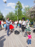 Dancing on the dance floor of Gorky Park, Moscow Stock Image