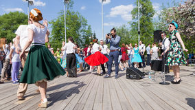 Dancing on the dance floor in Gorky Park Stock Image