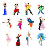 Dancing dancer people vector flat belly dance flamenco tango. Flat style dancing dancer people icon set. Young male female arts human collection. Belly dance Royalty Free Stock Photography