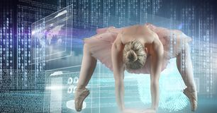 Dancing del ballerino con l'interfaccia di tecnologia digitale Immagine Stock