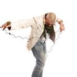 Dancing del cantante rock Fotografie Stock