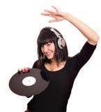 Dancing del DJ della ragazza di bellezza Immagine Stock Libera da Diritti