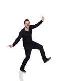 Dancing del giovane con il pagliaccio Nose immagine stock libera da diritti