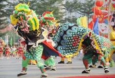 Dancing del leone Fotografia Stock
