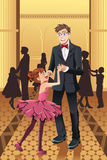 Dancing del padre con la sua figlia Fotografia Stock
