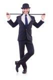 Dancing dell'uomo con il bastone da passeggio Fotografia Stock Libera da Diritti