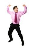 Dancing dell'uomo d'affari per la gioia Fotografia Stock
