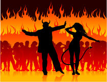 Dancing dell'uomo e della donna del diavolo nell'inferno Fotografia Stock