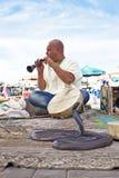 Dancing della cobra dell'ammaliatore di serpente a Marrakesh Marocco Fotografia Stock Libera da Diritti
