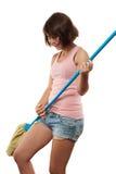 Dancing della donna con la scopa Fotografie Stock