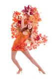 Dancing della donna del ballerino di carnevale Fotografia Stock