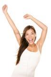 Dancing della donna del giocatore di musica MP3 Fotografie Stock