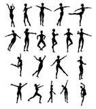 Dancing della donna della siluetta Fotografia Stock
