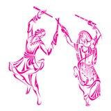 Dancing della donna e dell'uomo sulla notte di Dandiya Fotografia Stock Libera da Diritti