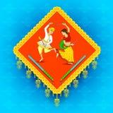 Dancing della donna e dell'uomo sulla notte di Dandiya Fotografia Stock