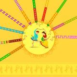 Dancing della donna e dell'uomo sulla notte di Dandiya Immagini Stock Libere da Diritti