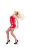 Dancing della donna in vestito rosso Fotografie Stock