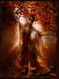 Dancing della ragazza fra le foglie di autunno Immagini Stock Libere da Diritti
