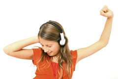 Dancing della ragazza sulla musica Immagini Stock Libere da Diritti