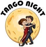 Dancing delle coppie sulla notte del fullmoon illustrazione vettoriale