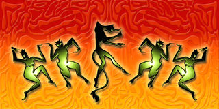 Dancing demons. An illustration of dancing demons & devils stock illustration