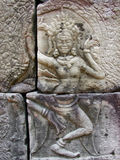 Dancing Devi. Devi goddess relief at Angkor Wat in Cambodia Royalty Free Stock Image