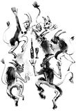 Dancing devils, ink drawing Stock Photography