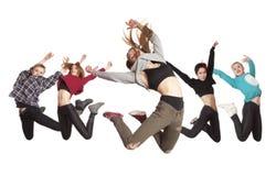 Dancing di pratica del gruppo della donna isolato su bianco immagine stock
