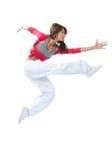 Dancing di salto del hstyle del danzatore sottile della donna Fotografie Stock
