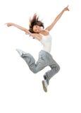 Dancing di salto di stile del ballerino hip-hop esile dell'adolescente Fotografia Stock