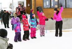 Dancing di Zumba al fest di inverno Immagine Stock Libera da Diritti