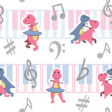 Dancing dino seamless pattern with music keyboards. Seamless pattern with cute dino dancing at music keyboards Royalty Free Stock Images