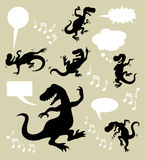 Dancing dinosaur silhouettes. Dinosaur dancing and singing silhouettes with blank speech bubbles. Good use for any design you want. Easy to use, edit, or change Stock Photos