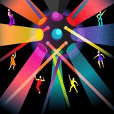 Dancing disco in night party. Cartoon style vector illustration,1970 s tiny human action poses Stock Photos