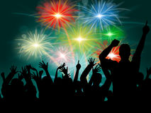 Dancing Disco Represents Fireworks Display And Celebrate Stock Photo