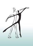 Dancing disegnato a mano delle coppie Fotografie Stock