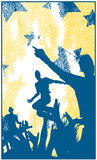 Dancing with dj. Young people silhouettes dancing at the summer party Royalty Free Stock Image