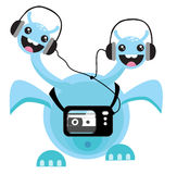Dancing dragon. Happy dancing dragon with headphones and walkman on Stock Photo