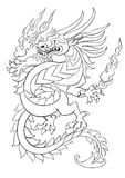 Dancing dragon vector line art Royalty Free Stock Photos