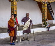 Dancing in the dzong Royalty Free Stock Photos