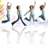 Dancing e salto della donna Immagini Stock
